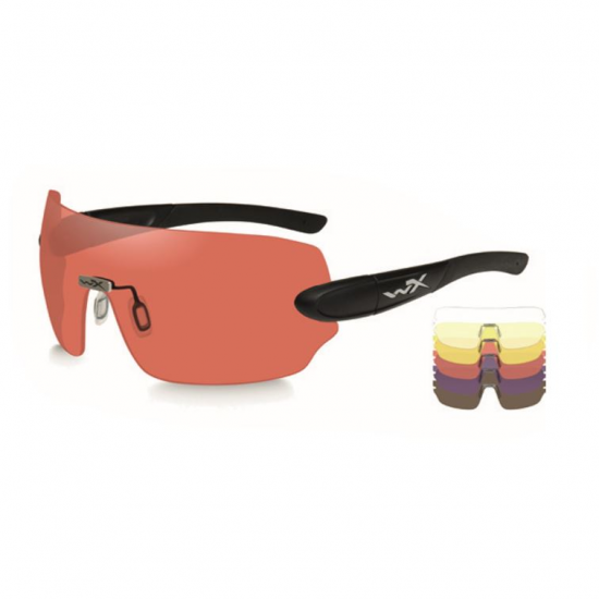 strelecké, taktické okuliare s vymeniteľnými zorníkmi WILEY X DETECTION zorník číry + žltý + medený + fialový + tmavý v matnom čiernom ráme