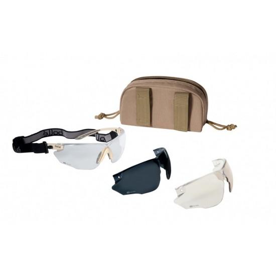 taktické strelecké okuliare BOLLE COMBAT KIT pieskový rám púzdro zdarma