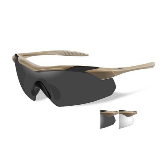 dioptrické/ taktické okuliare s vymeniteľnými zorníkmi WILEY X VAPOR TAN- Smoke Grey + Clear
