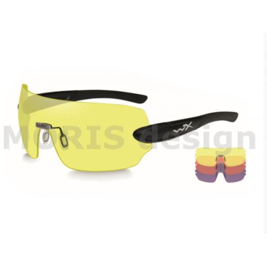 strelecké, taktické okuliare s vymeniteľnými zorníkmi WILEY X DETECTION zorník číry + žltý + medený v matnom čiernom ráme