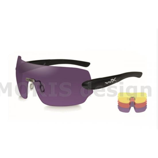 strelecké, taktické okuliare s vymeniteľnými zorníkmi WILEY X DETECTION zorník žltý + oranžový + fialový v matnom čiernom ráme